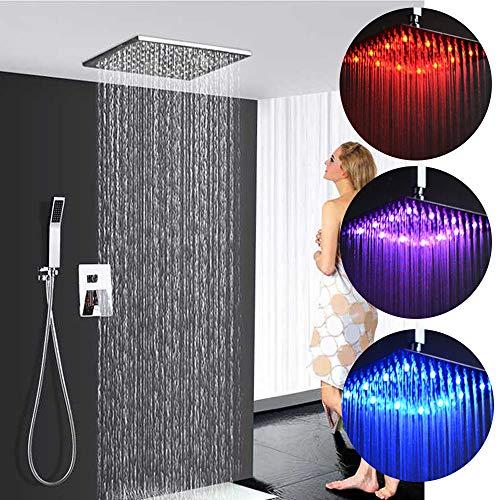 Ducha empotrados LED ducha de lluvia cabeza de ducha RGB ducha de lluvia techo rasante grifo Después de temperatura del agua de ducha Set = ducha de lluvia (30 cm * 30 cm) + ducha de mano