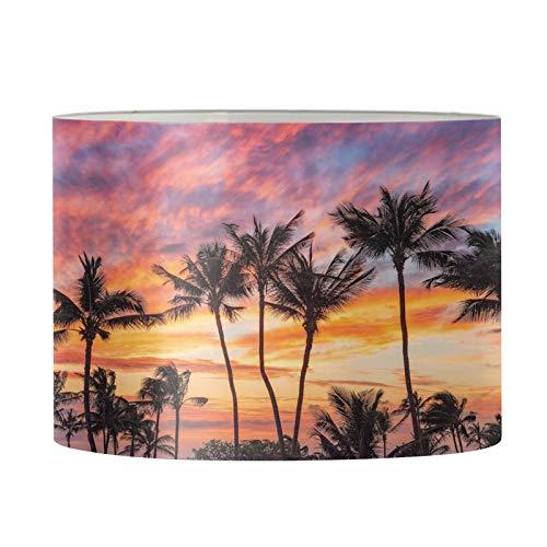 Aulaygo Sombras de lámpara de sol tropical, palmera para lámparas de mesa, pequeña pantalla redonda para dormitorio, lámpara de pie, lámpara de mesita de noche, lámpara de montaje simple araña