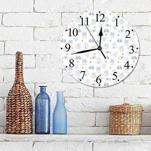 Silencioso Wall Clock Decoración de hogar de Reloj de Redondo,Elementos de la cultura holandesa tradicional de Holanda con bicicletas de zuecos estilo Do,para Hogar, Sala de Estar, el Aula