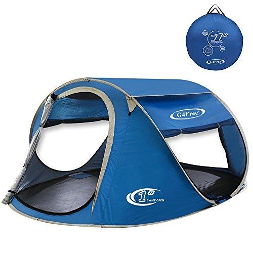 G4Free Pop up Tents Ventilated 2 Doors/Mesh Windows&Top Window Family Sun Shelter