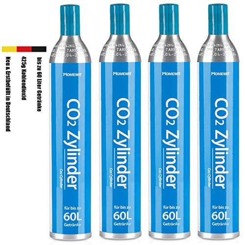 Homewit CO2 Zylinder x 4 Flaschen, Neu & Erstbefüllt in Deutschland, 425g Kohlendioxid für ca. 60 L Wasser, geeignet für SodaStream Wassersprudler (z.B. Crystal 2.0, Crystal, Easy) usw, TÜV bis 2030