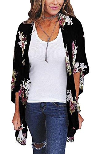 Relipop Women's Sheer Chiffon Blouse Loose Tops Kimono Floral Print Cardigan (XX-Large, Style 35)