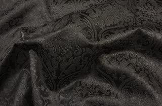 Vinyl Fake Leather Damask Black Upholstery Drapery Black Embossed Fabric Per Yard Sold BTY