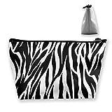 Pochette da viaggio per cosmetici con trapezio a motivo zebrato