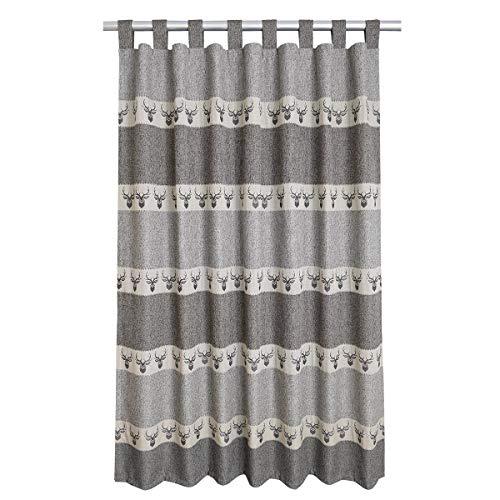 SeGaTeX home fashion Hochwertiger Schlaufen-Dekoschal Alpin Hirsch grau Exklusiver Landhaus-Vorhang 8 Schlaufen HxB 145 x 130 cm