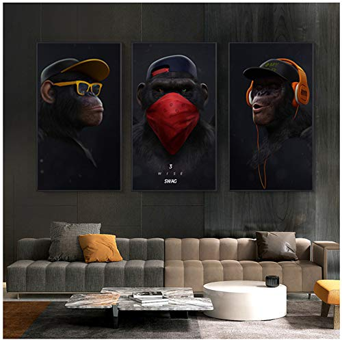 """HYFBH Leinwandbilder Wandkunst Lustiger denkender AFFE mit Kopfhörerplakaten und Drucktier-Leinwanddrucken für Wohnzimmerdekor 60x90cm (23,6""""x 35,4"""") x3 ohne Rahmen"""