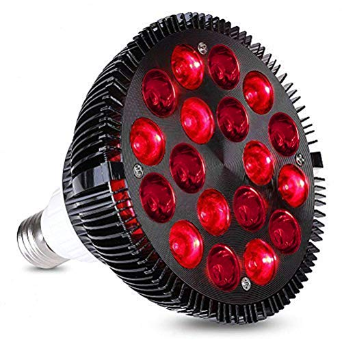 Susian Lámpara de Terapia de luz roja, lámpara de luz roja 54W Lámpara de Terapia de luz LED roja Lámparas LED de infrarrojo cercano Rojo de 660nm y 850nm, 12.5 * 13.5cm