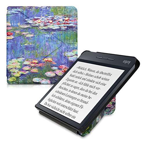 kwmobile Funda Compatible con Kobo Libra H2O - Carcasa magnética de Origami para e-Book - nenúfares Rosa Claro/Verde/Azul