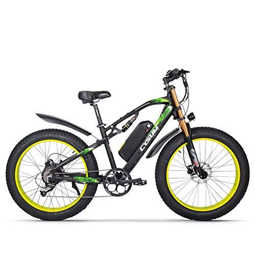 cysum Vélo électrique pour Hommes, VTT de 26 Pouces avec Gros pneus, vélo de Montagne pour Adultes avec Batterie au Lithium Amovible 48V 17Ah