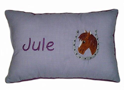 Lila Schmusekissen * Kuschelkissen * Pferd * mit Namen bestickt * in zwei Größen