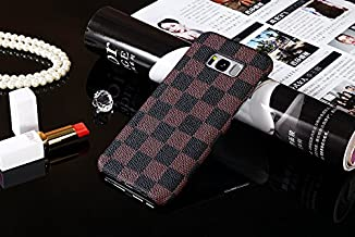 HeiL S8plus TPU (Fast US Deliver Guarantee Fulfilled by Amazon) New Elegant Luxury PU Leather Checker Pattern Classic Style Cover Case for Samsung Galaxy S8PLUS / s8 Plus ONLY (Brown)