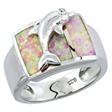 Sterling Silver Pink Synthetic Opal Dolphin Ring for Women 1/2 inch Size 6