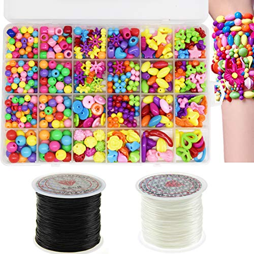 Zuzer 650PCS Perlen zum auffädeln,Ketten basteln,Kinder schmuck mädchen,Perlen Basteln,DIY Perlenschmuck für Kinder mit 2PCS Elastisch Schmuckfaden Gummifaden,24 Farben