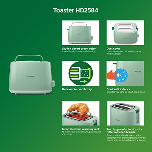 PHILIPS HD2584/60 830W 2 Slice Pop Up Toaster, Green