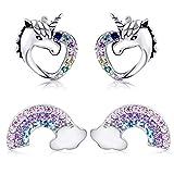 Tacobear 2 Paar Einhorn Ohrringe Silber S925 Ohrringe Mädchen Damen Ohrstecker Einhorn Liebe Herz Regenbogen Ohrringe Set mit Geschenkbox Valentinstag Schmuck Geschenke für Damen Mädchen