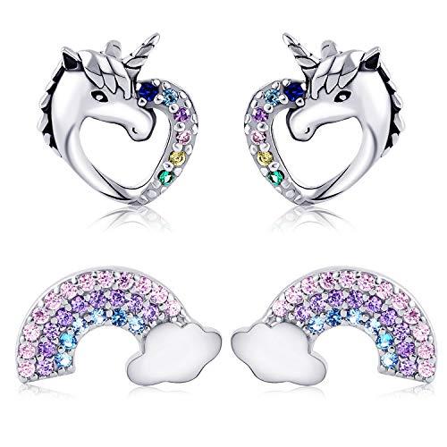 Tacobear 2 Paia Unicorno Orecchini Argento S925 Orecchini Donna Amore Cuore Unicorno Orecchini Bambina Arcobaleno Orecchini Set San Valentino Compleanno Gioielli Regalo per Donna Bambina