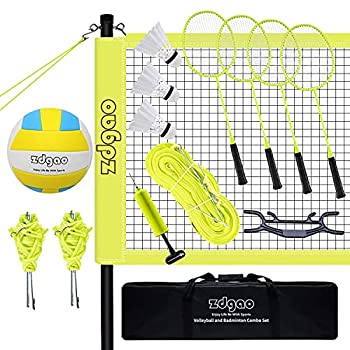 Zdgao Professional Volleyball/Badminton Net System - Complete Volleyball & Badminton Combo Set for Backyard Beach with Carrying Bag Boundary Line