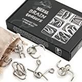 Metal Brain Teaser Puzzles 6 Set for Kids and Adults, Large Mind Game Handheld Disentanglement Toys, 3D Coil Cast IQ Logic with Plastic Storage Box and Solutions, Best Novelty Idea