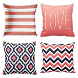 Emvency Set of 4 Throw Pillow Covers Coral and Navy Retro Nautical Stripes Decorlution Pink Cute Zigzag Decorative Pillow Cases Home Decor Square 18x18 Inches Pillowcases