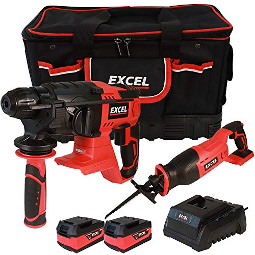 Excel 18V Power Tool Cordless Twin Pack SDS Plus Rotary Hammer and Reciprocating Saw with 2 x 5.0Ah Batteries & Charger in Bag EXL5108