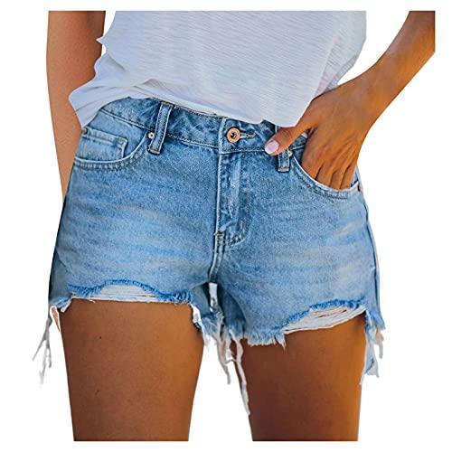 YANFANG Pantalones Cortos Vaqueros para Mujer,Moda Mujer De Bolsillo Mezclilla Agujero Inferior Sexy Casuales,Pantalones Botones Deportivos,Blue,XXL