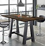 storado.de Bartisch schwarz Texas Oak 120x105x70cm Bartresentisch A120 Stehtisch Tisch