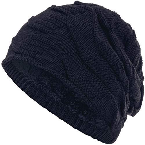 Compagno Mütze warm gefütterte Wintermütze elegantes Strickmuster Beanie Einheitsgröße, Farbe:Marineblau