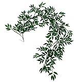 Vaorwne 1.8M Artificielle Faux Eucalyptus Saule Feuilles Vert Plantes De Mariage DIY Décor Fleurs Plante Feuille Simulation Rotin Décor à la Maison Simulation Rotin Vert