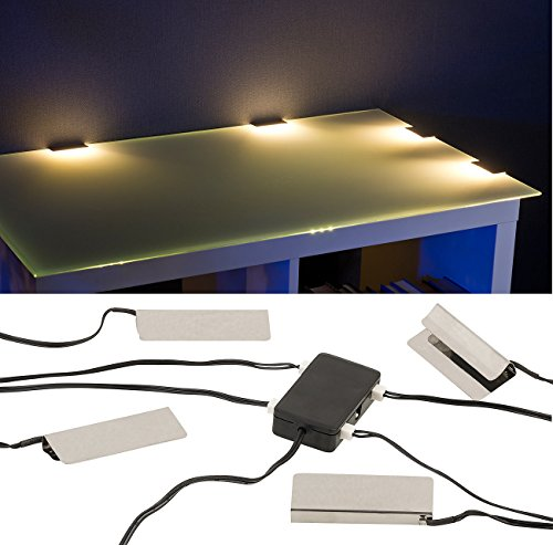 Lunartec Glasbeleuchtung: LED-Glasbodenbeleuchtung: 4 Klammern mit 12 warmweißen LEDs (Vitrinenbeleuchtung Glasboden)