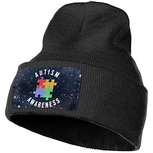 hgfyef Unisex Soft Knit Beanie Mütze Autism Awareness Retro Skull Cap Sport Fan Uhr Cap Schwarz DIY 12494