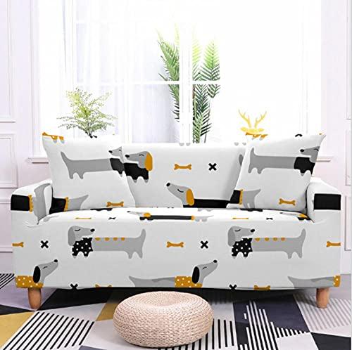 Fundas de Sofá Estampado Perro Animal Gris 2 Plazas Elasticas Protector de sofá Funda Sofá Antideslizante Funda Elástico Universal Ajustables Protector Cubierta de Muebles