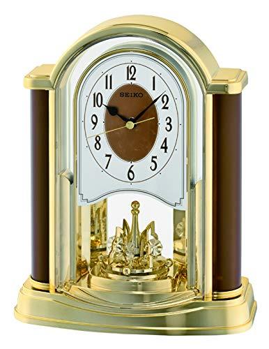 Seiko Tischuhr Motion analog Kunststoff Gold/braun QXN228B