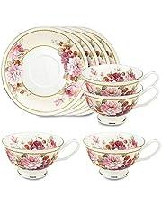 جراسي بون تشاينا كوب شاي وصحون 236 مل، مجموعة من 4 قطع