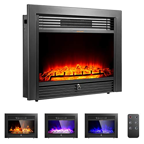 """ARLIME 28.5"""" Electric Fireplace, Insert Heater Fireplace Recessed Mounted with 3 Color Flames Adjustable, 750/1500W Wall Fireplace Electric with Remote Control, Black"""