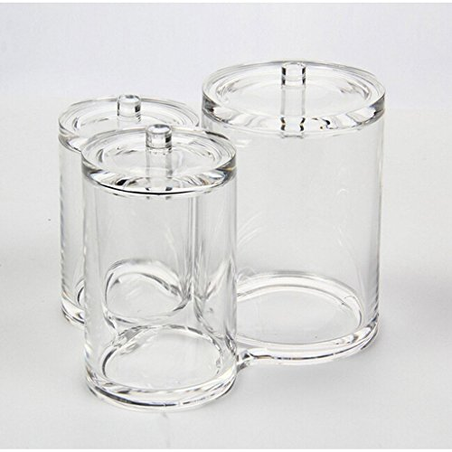 Vencer 3pc Acrylic Clear Cotton Ball & Swab Organizer VMO-013