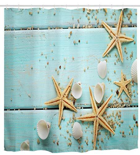 Mimihome Shower Curtain Beach, Seashell Starfish Rustic Turquoise Wooden Board Waterproof Bathroom Curtain Ocean Sea Theme Bath Curtain Bathroom Accessories with Hooks, 72W by 72H Inch