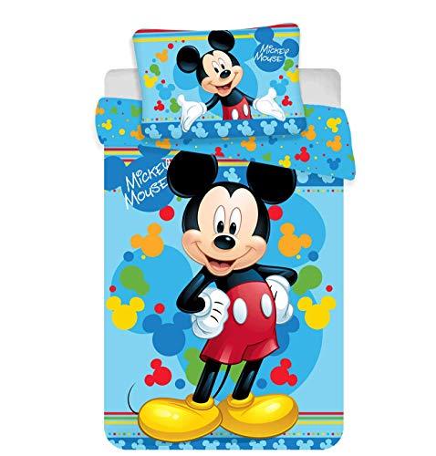 Kinderbettwäsche Disney III 2-teilig 100% Baumwolle 40x60 + 100x135 cm mit Reißverschluss (Mickey)
