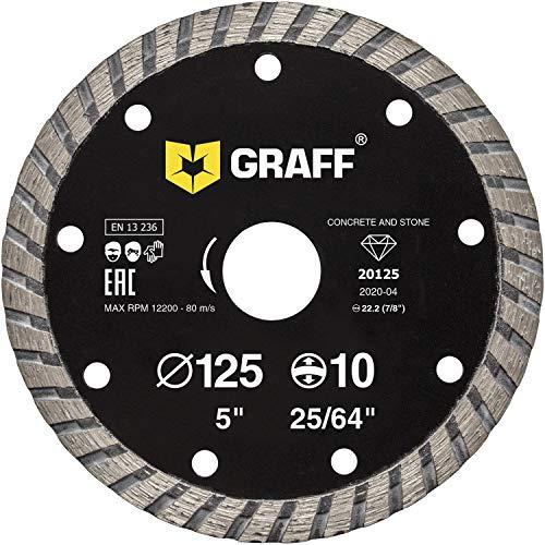 GRAFF Diamantscheibe 125mm für Stein, Beton, Granit, Fliesen, Naturstein - Turbo Diamanttrennscheibe für Winkelschleifer und Flex - Segmenthöhe 10mm