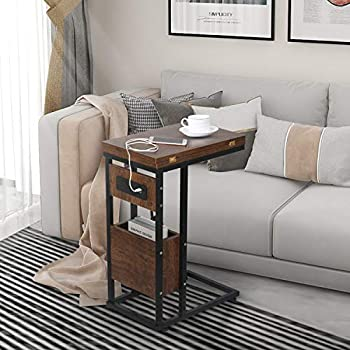 Industrial End Table with Charging Station & USB Ports C Shaped Side Table Slider Under Sofa Couch and Bed Snack Table with Storage Shelf for Breakfast Coffee or Laptop in Living Room Bedroom