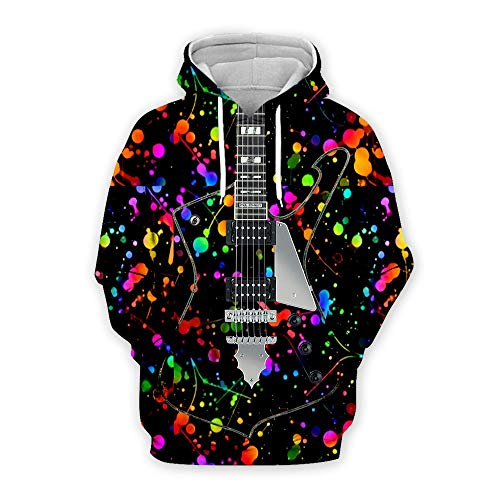 ERIC.LI Unisex 3D Hoodie Funny Printed Long Sleeve Hooded Pullover Grafik Hoodie Mit Drawstring Taschen Bunt Kapuzen Paar Tragen Pullover Sweatshirt Kapuzenjacke Gitarre D M