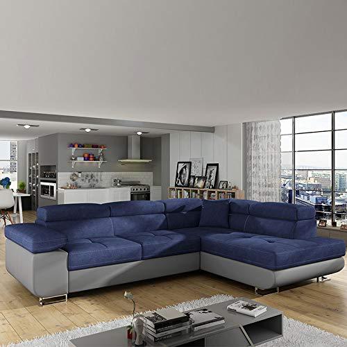 Hoekbank, rechts, uittrekbaar, blauw van stof Willis 10