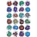 KATELUO Botones de Calendario de Adviento, 24 Botones de Calendario de Navidad,chapas numeros Navidad, broches Navidad, Haciendo Bricolaje Calendario Navideño y Decoración Etiquetas para Regalos