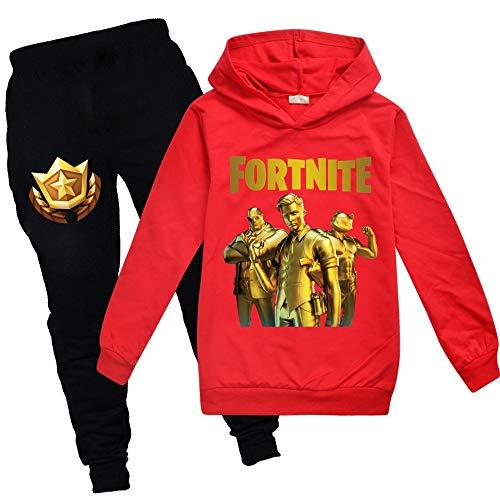 zhaojiexiaodian Jungen Unisex 3D Print Pullover Kinder Jogging Hoodies Sweatshirt Trainingsanzüge Kleidung Outwear Jumper Hip Hop Streetwear Hooded Tops (Rot, 170)
