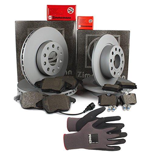 Inspektionspaket Zimmermann Bremsen Set inkl. Bremsscheiben und Bremsbeläge für vorne Ø 280 mm und hinten Ø 253 mm enthalten, 100% passend für Ihr Fahrzeug, inkl. Priner Montagehandschuhe, AN143