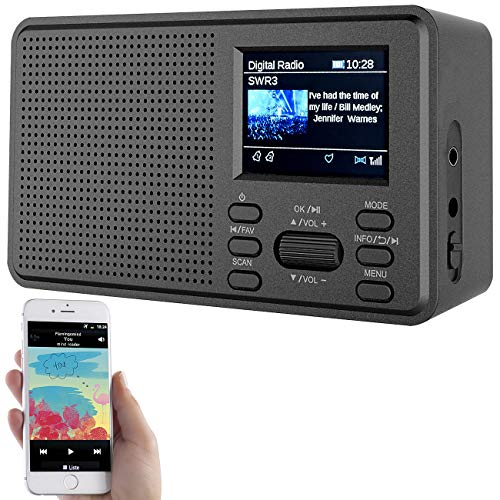 VR-Radio Radio: Mobiles Digitalradio mit DAB+ und UKW, LCD-Farbdisplay, Wecker, 8 Watt (DAB Radios)