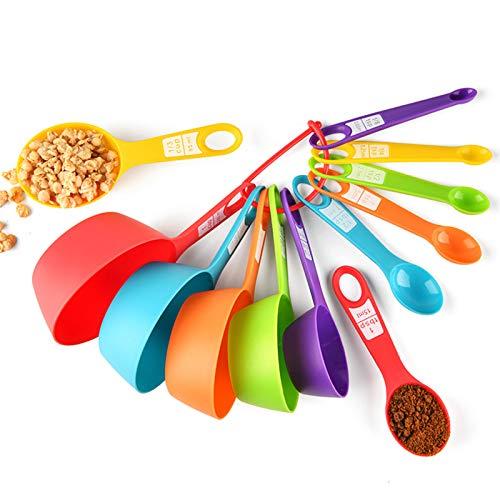 Cucharas Medidoras Plástico Juego 12 Piezas Cucharas y Tazas Medidoras Tazas Multicolor Medidoras Cocina para Medir Líquidos y Los Ingredientes para Cocción y Horneado Apto para lavavajillas