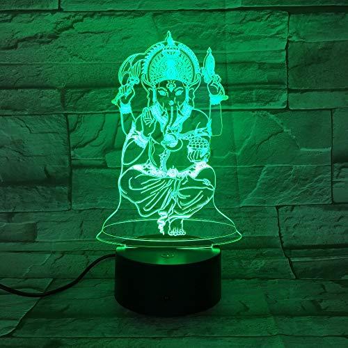 Estatua de Buda 3D luz de Noche USB luz de sueño 3AA batería lámpara de Mesa decoración de Dormitorio Regalos para niños