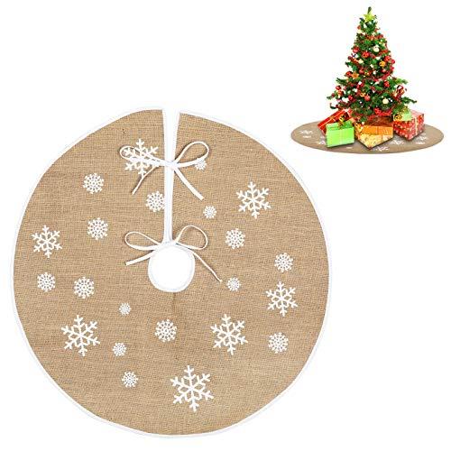 EKKong, gonna per albero di Natale in lino, per albero di Natale, stile retrò, con fiocchi di neve bianchi stampati, per albero di Natale, decorazione natalizia (80 cm, fiocco di neve di lino