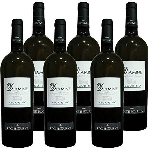 Diamine Pecorino Colline Pescaresi | Marchesi de Cordano | Confezione da 6 Bottiglie da 75 Cl | Vino Bianco Abruzzese | Idea Regalo