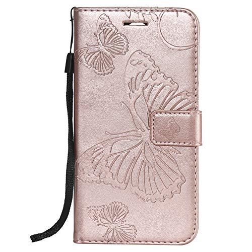 Feyyxi Leather Wallet Case for LG K9 / LG Candy Case with Card Holder Side Pocket Kickstand, Leather Flip Case Magnetic Cover for LG K9 / LG Candy - FEKT41485 Rose Gold